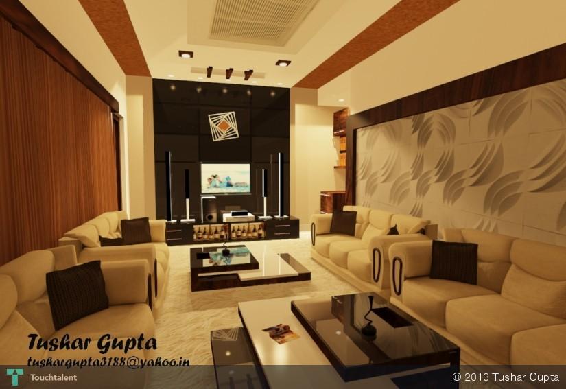3d Living Room Interior 3d Art Tushar Gupta Touchtalent