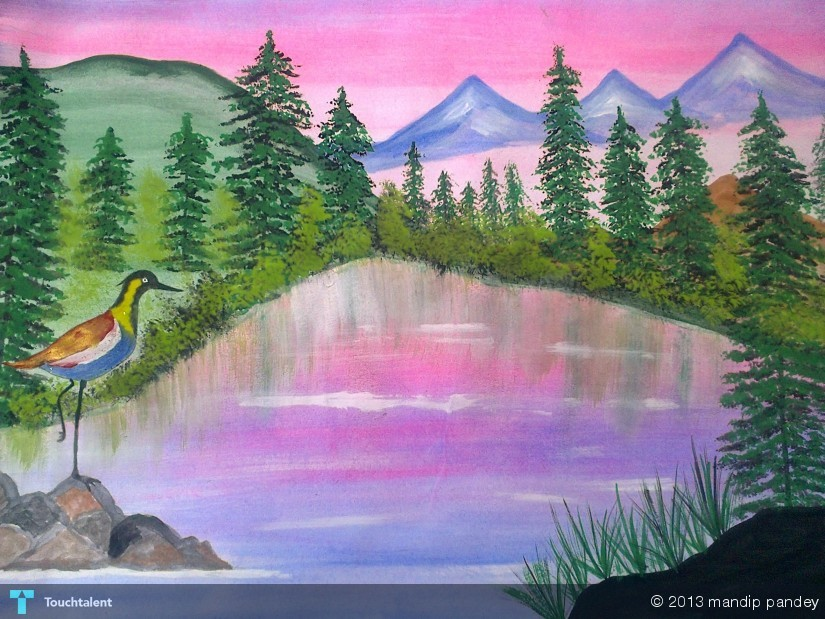 Bird In A Scenery  Painting  Mandip Pandey  Touchtalent