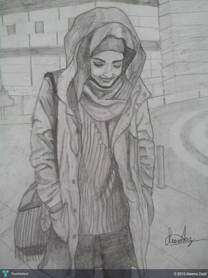 A girl in hijab in sketching by aleema zaidi