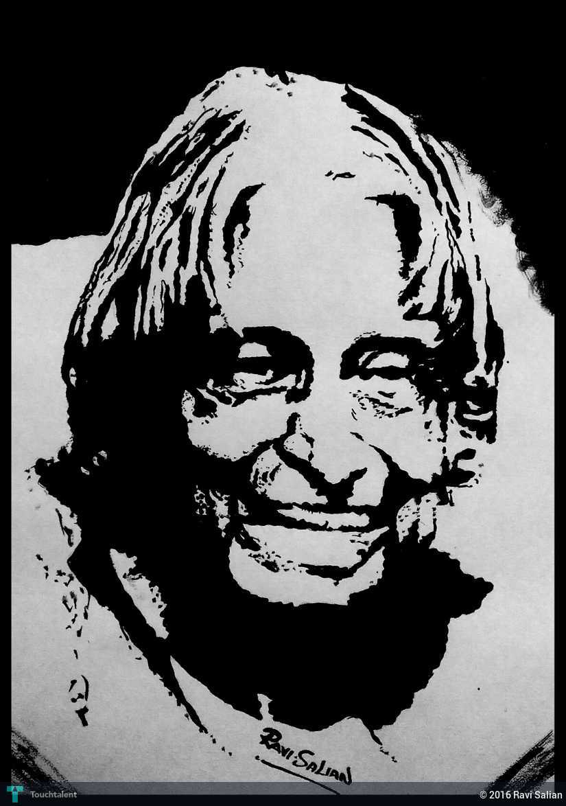 Apj abdul kalam in sketching by ravi salian