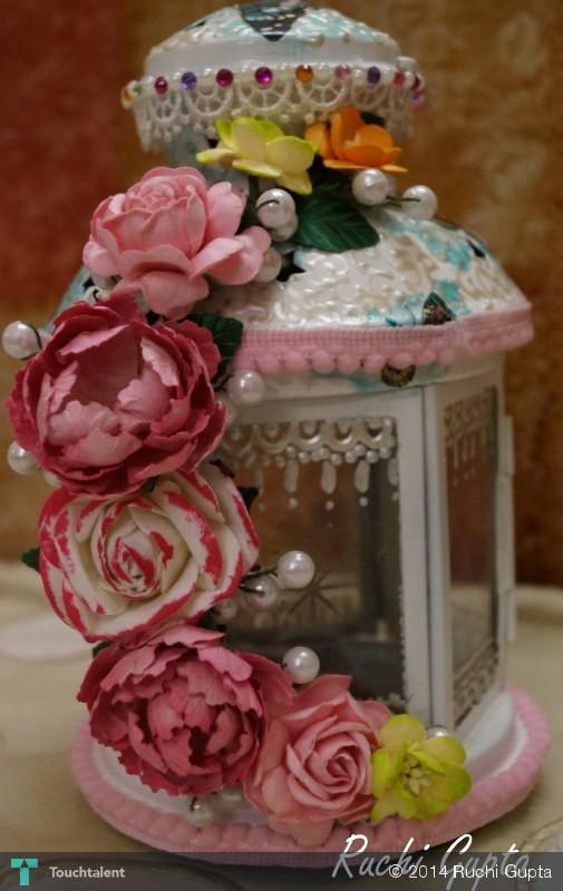 Altered Lantern with self made paper flowers