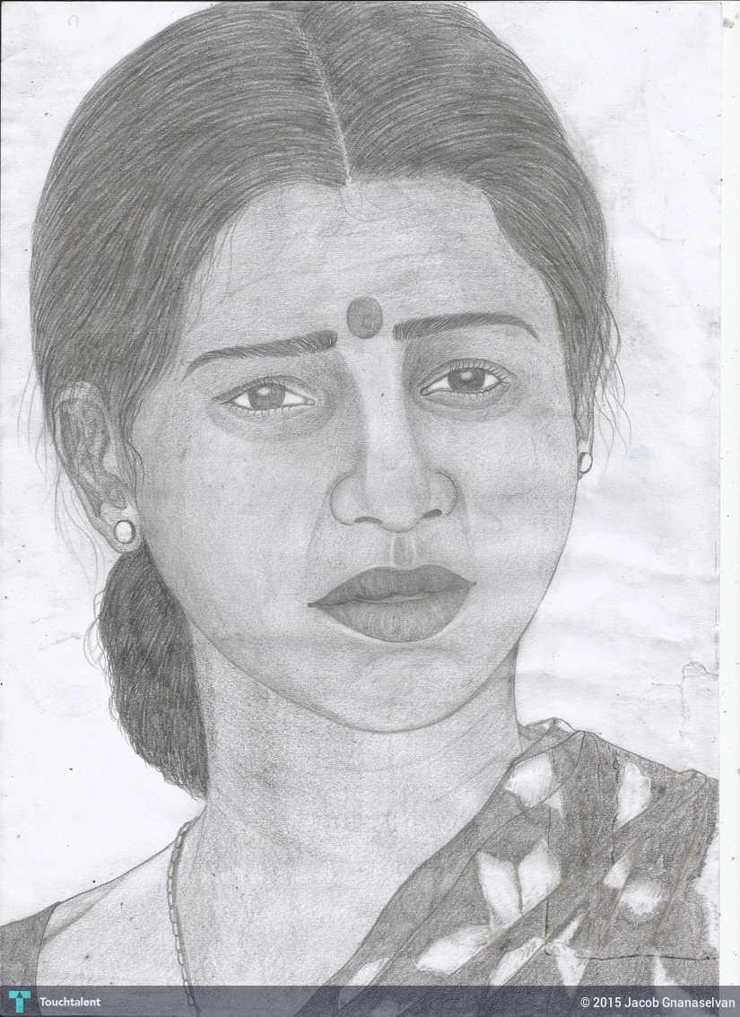 Jackhi pencil drawing an normal indian women in sketching by jacob gnanaselvan