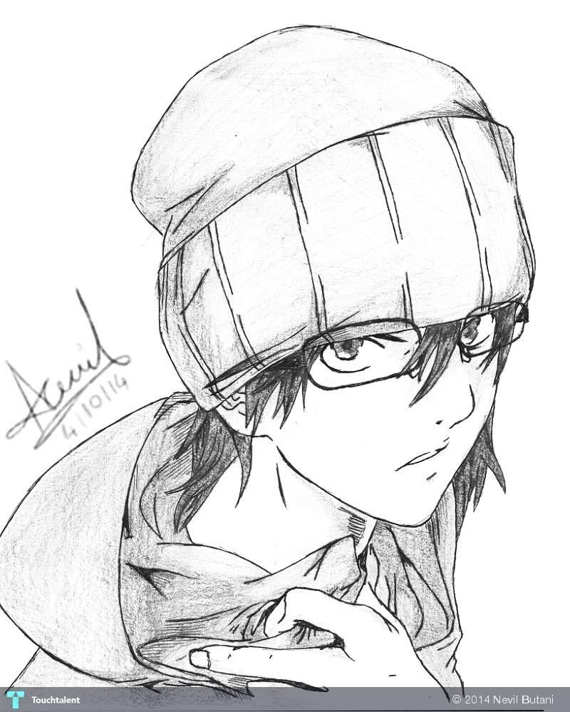 Anime boy in sketching by nevil butani
