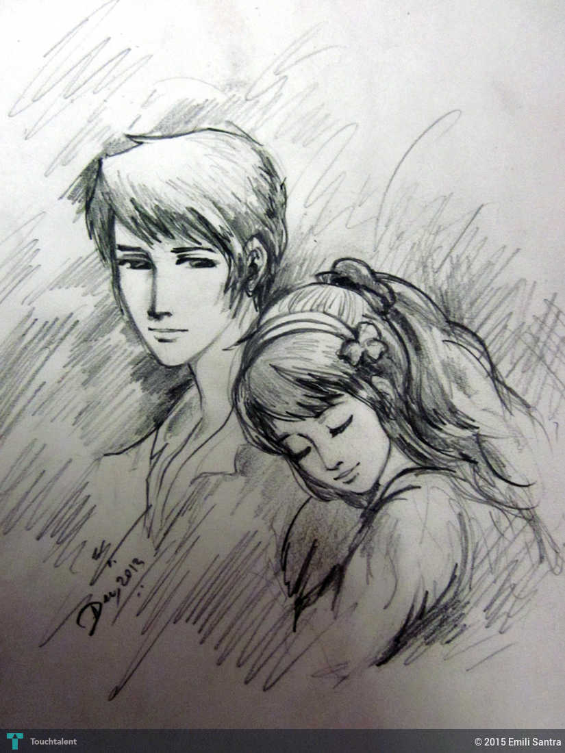 Anime boy and girl in sketching by emili santra
