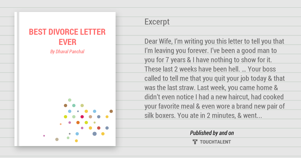 BEST DIVORCE LETTER EVER | Touchtalent - For Everything Creative