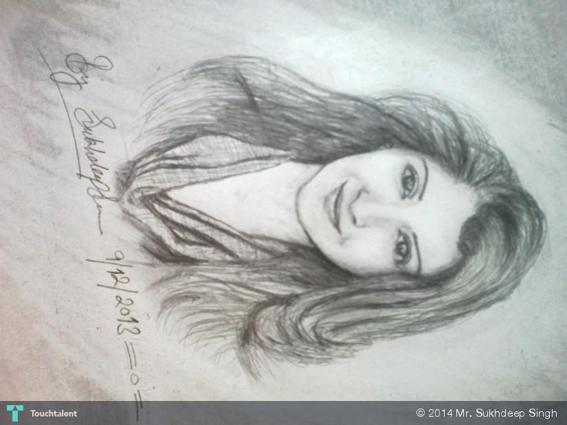 Beautiful punjabi girl in sketching by mr sukhdeep singh