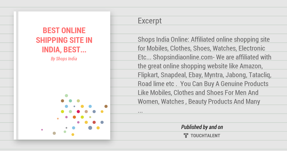 Best Online Shipping Site In India Best Deal Feature Online Shopping Site Shopping Site In India Touchtalent For Everything Creative