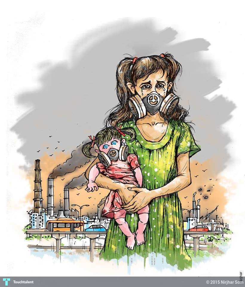 Children and air pollution in delhi in painting by nirjhar som