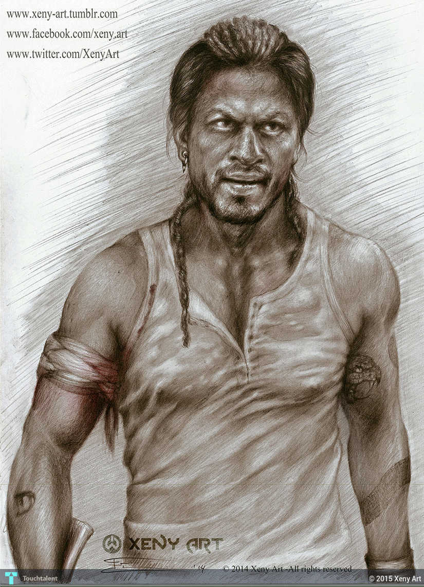 Don the chase must continue pencil drawing srk shahrukh khan