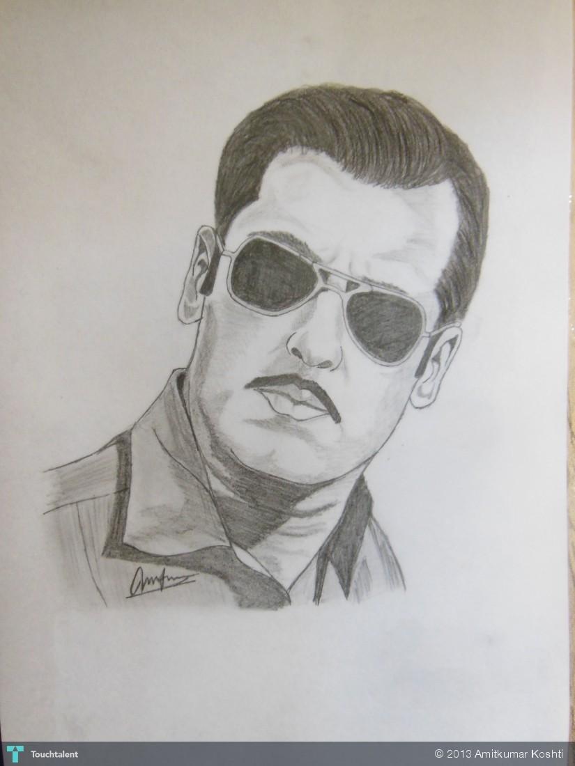 Salman Khan Sketch Wallpaper Dabangg Salman in Sketching by