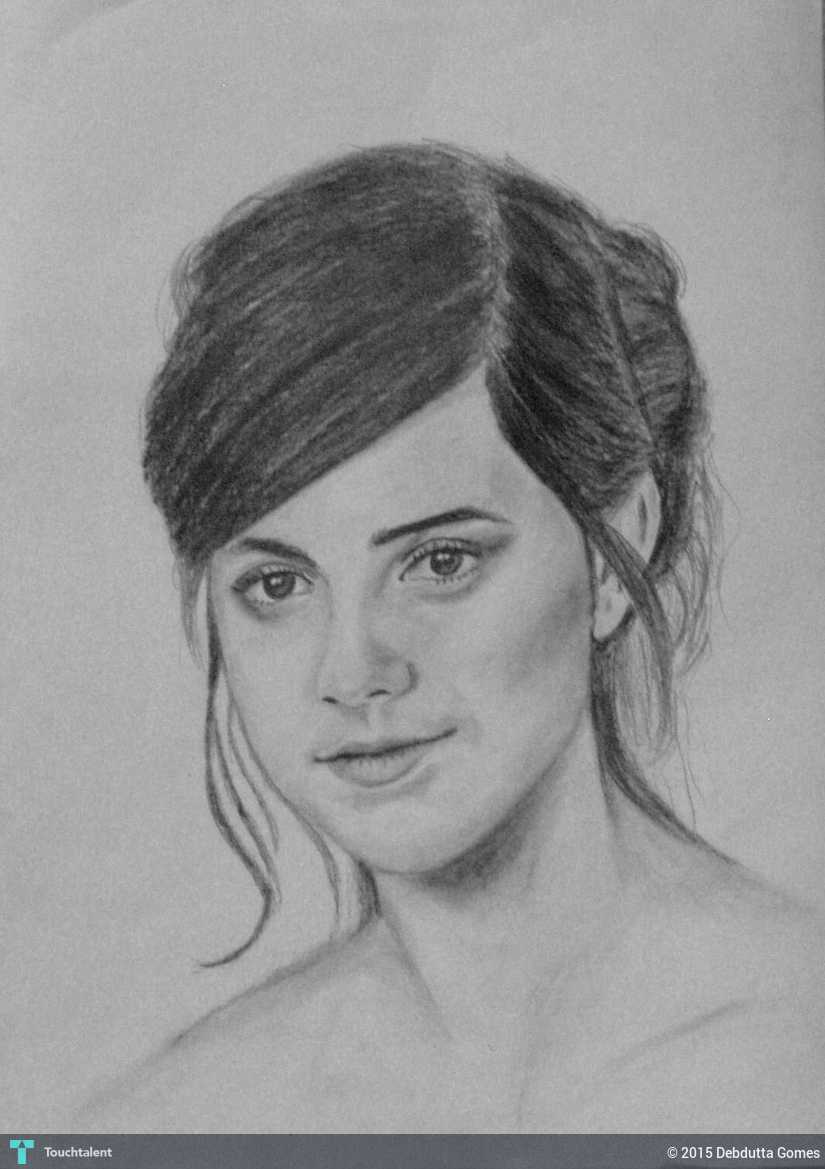 Emma watson pencil sketch touchtalent for everything creative