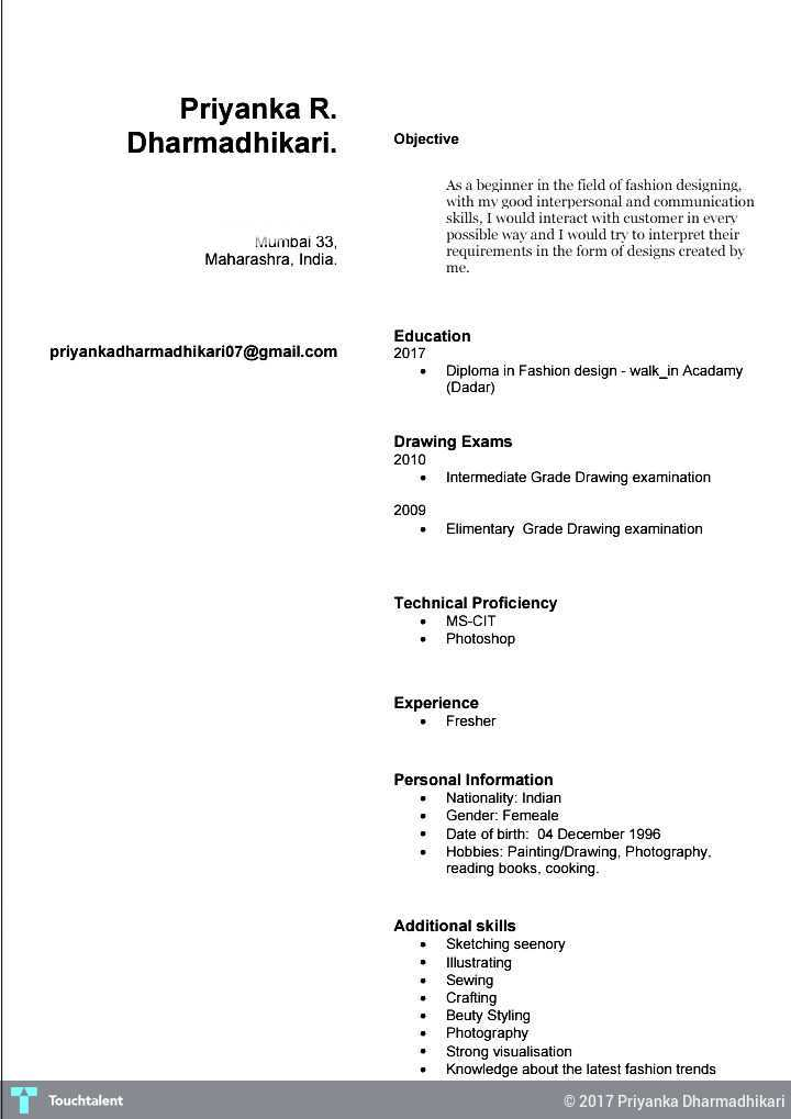FASHION DESIGNER RESUME   CV (priyanka Dharmadhikari) In Fashion By  Priyanka Dharmadhikari  Fashion Design Resume