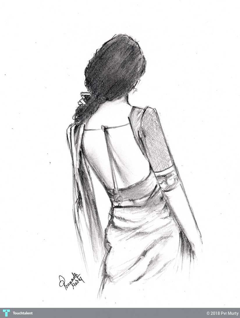 Fashion pencil sketch in sketching by pvr murty