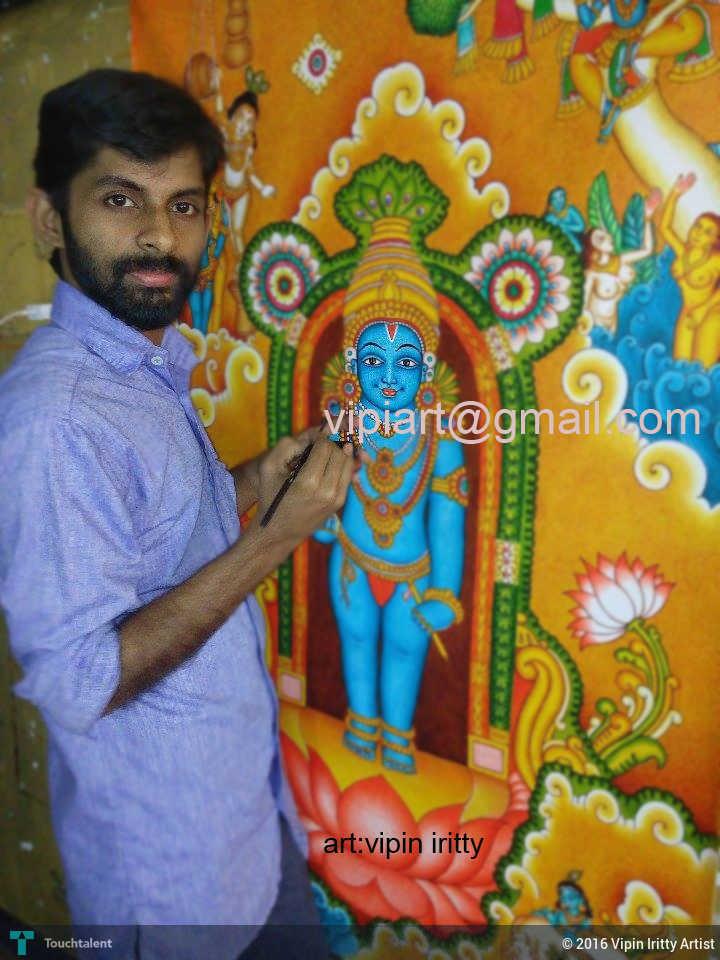 Guruvayur unnikkannan qality mural painting by vipin for Asha mural painting guruvayur