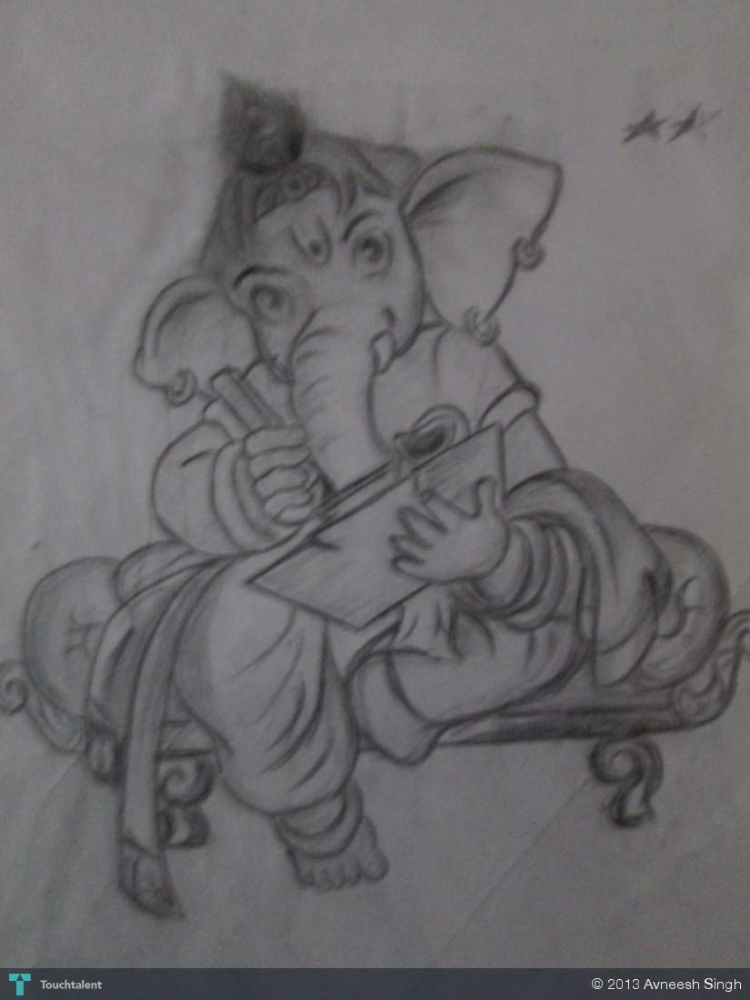 Ganesh ji in Sketching by