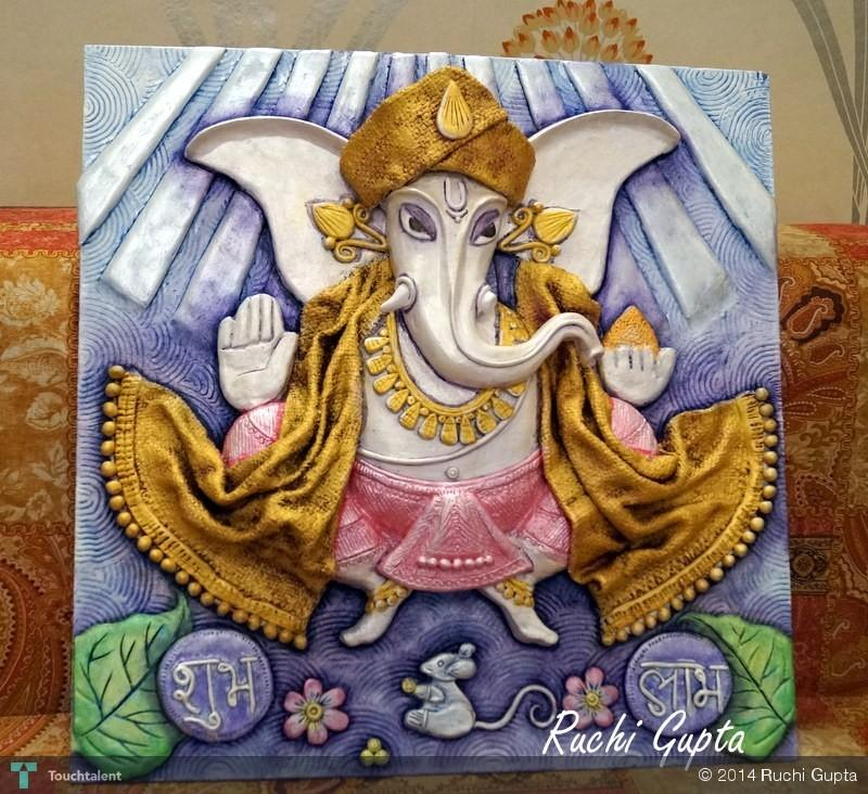 Ganesha clay mural sculpting ruchi gupta touchtalent for Mural art of ganesha