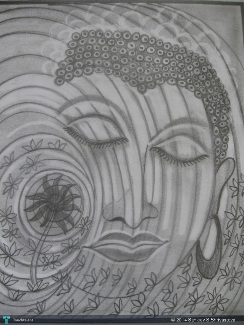 Gautam buddha meditation pencil sketch in sketching by sanjeev s shrivastava