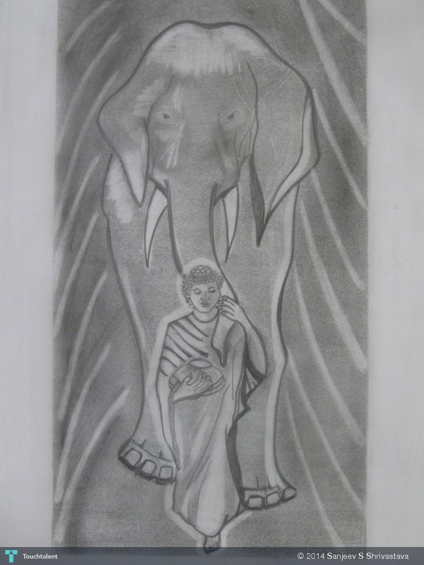 Gautam buddha with elephant pencil sketch sketching