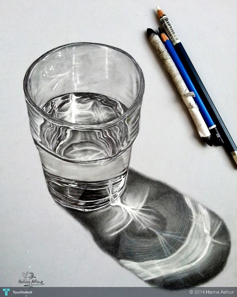 Glass of water realistic pencil drawing touchtalent for
