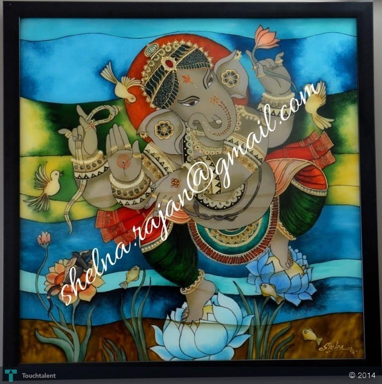 Lord Ganesha Glass Paintings Glass Painting of Lord Ganesha