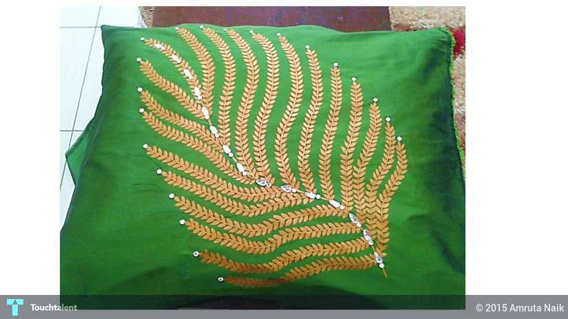 Hand Painted Cushion Cover - Leaf Motif in Design by Amruta Naik