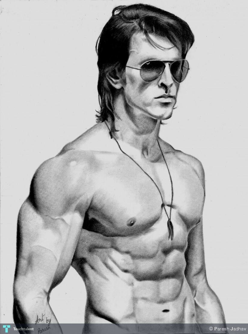 hrithik roshan krrish 3 pencil sketch | touchtalent - for everything