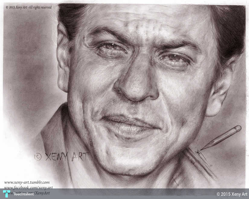 Hyper realistic pencil drawing srk shahrukh khan shah rukh khan bollywood