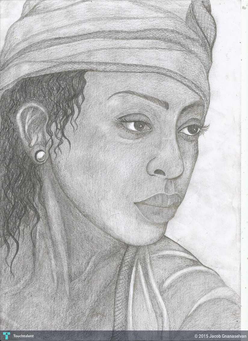 Women pencil sketch sketching jacob gnanaselvan touchtalent