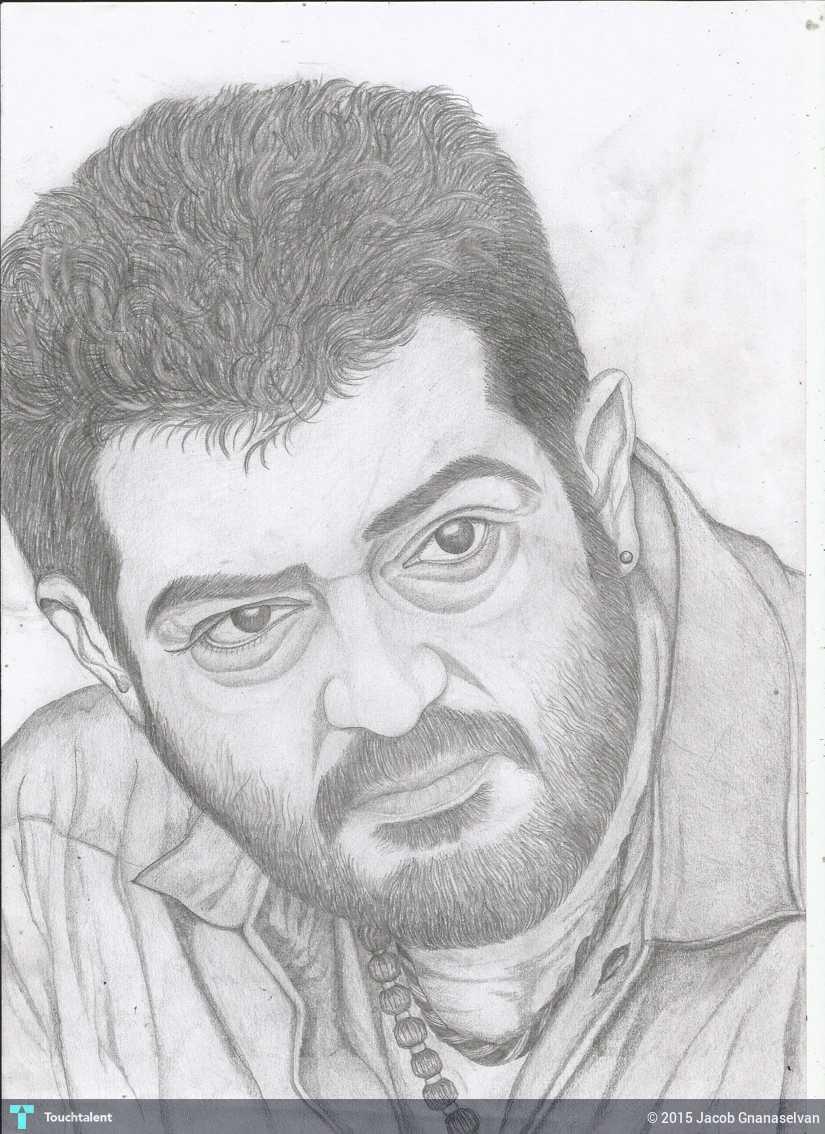 Jackhi pencil drawing actor ajith in sketching by jacob gnanaselvan