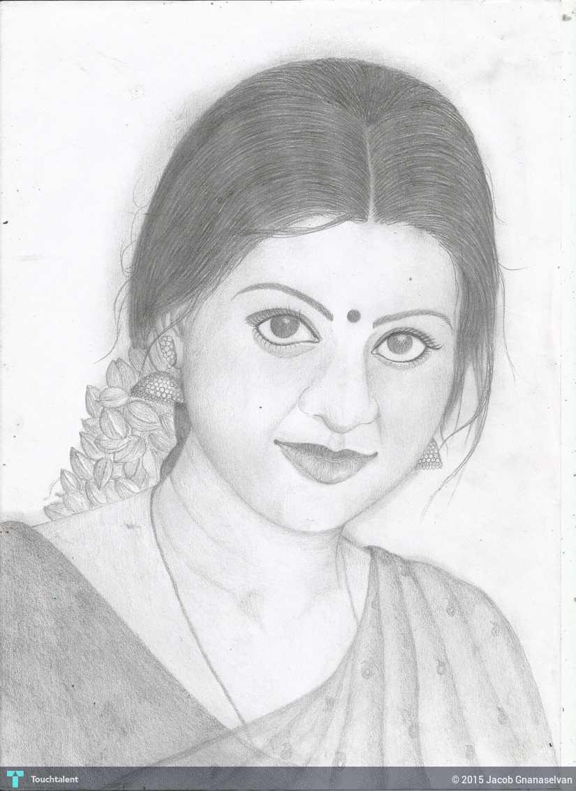 Jackhi pencil drawing snega pencil sketch in sketching by jacob gnanaselvan