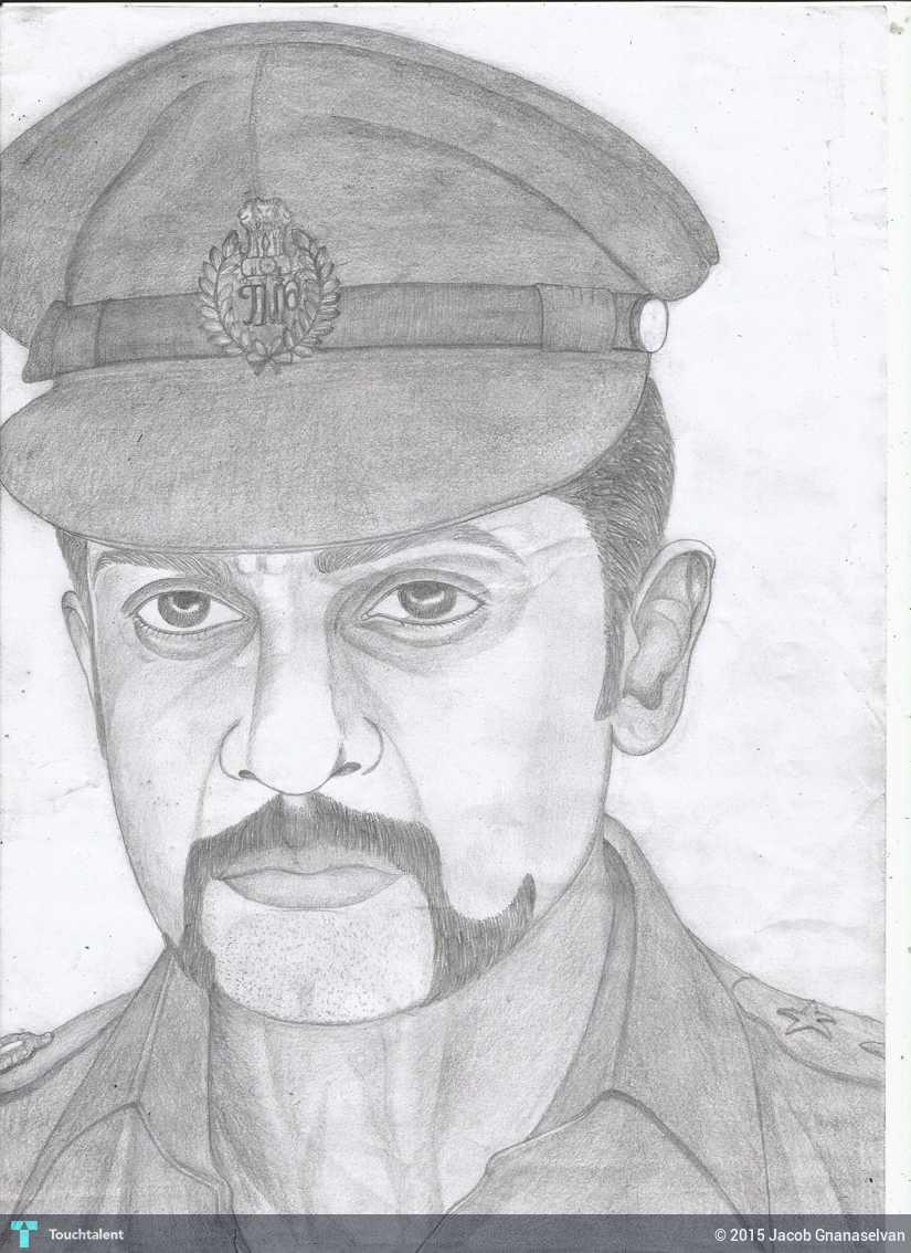 Jackhi pencil drawing actor surya in sketching by jacob gnanaselvan
