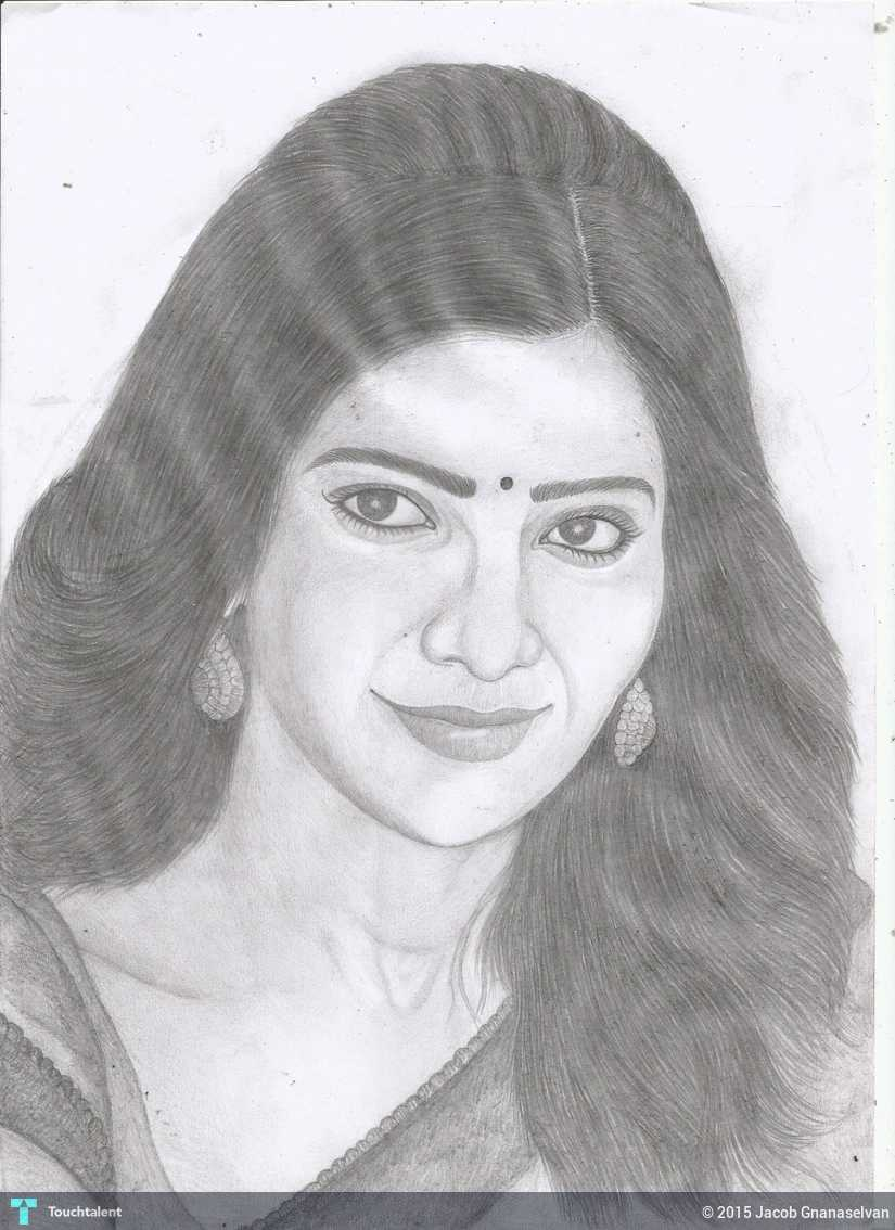 Jackhi pencil drawing samantha ruth prabhu pencil sketch