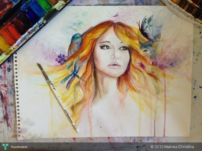 Jennifer lawrence painting watercolor painting halinka christina