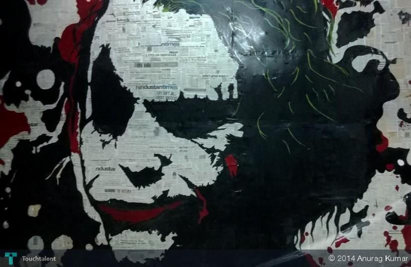 Joker Newspaper Columns Cutting On Wall Touchtalent For