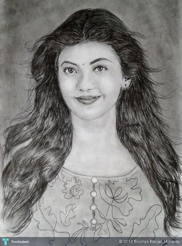 Kajal Pencil Drawing Kajal Agarwal by Soumya in