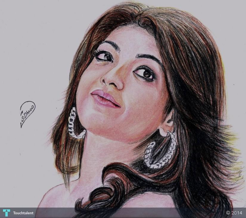 Kajal Pencil Drawing Kajal Agarwal