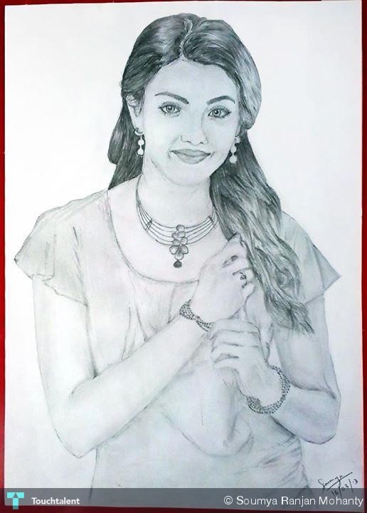 Kajal Pencil Drawing Kajal Aggarwal in Sketching by