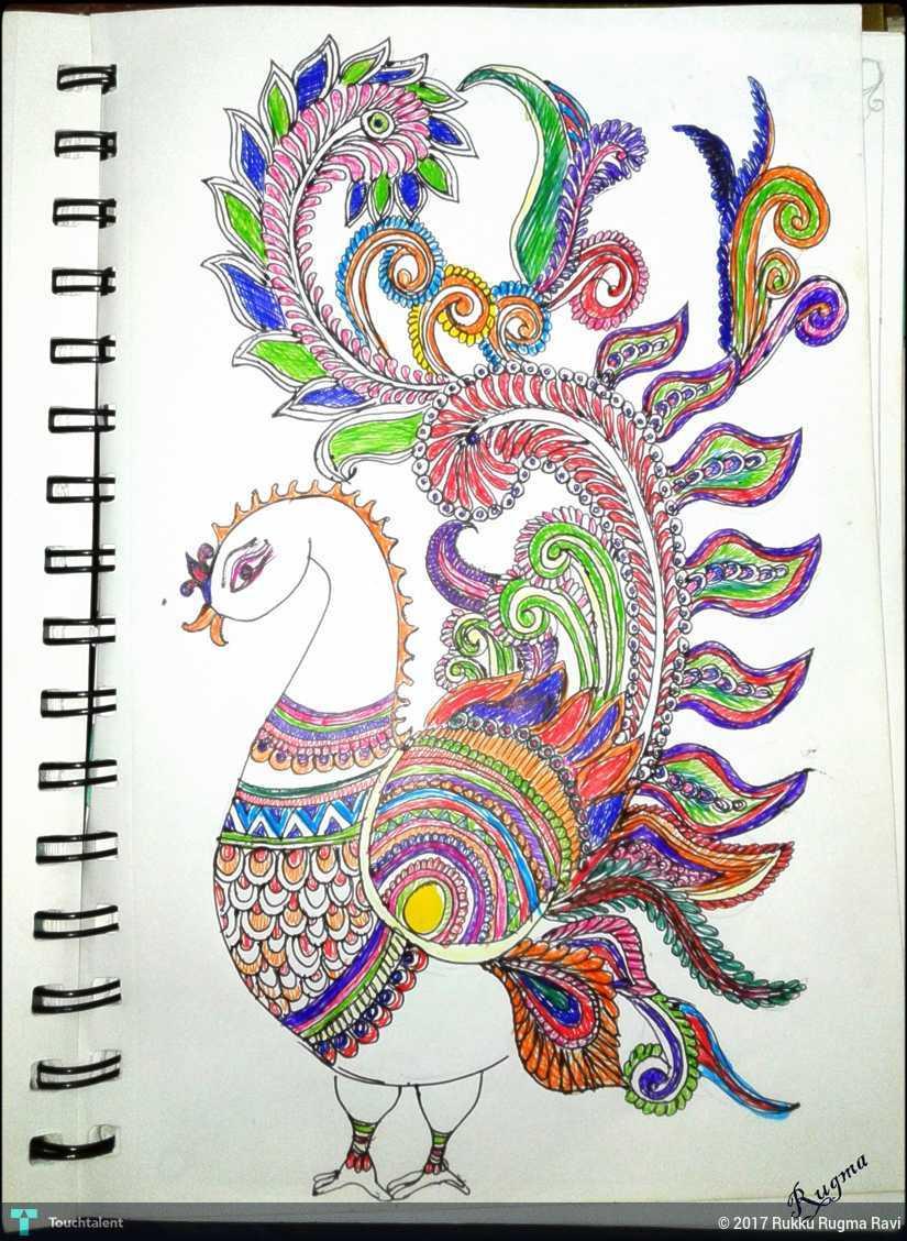 Kalamkari peacock design in sketching by rukku rugma ravi