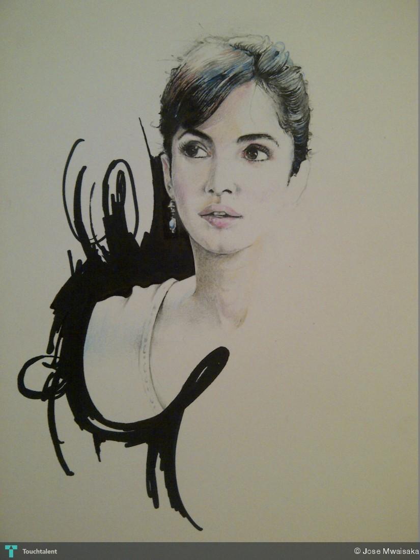 Katrina kaif in sketching by jose mwaisaka art