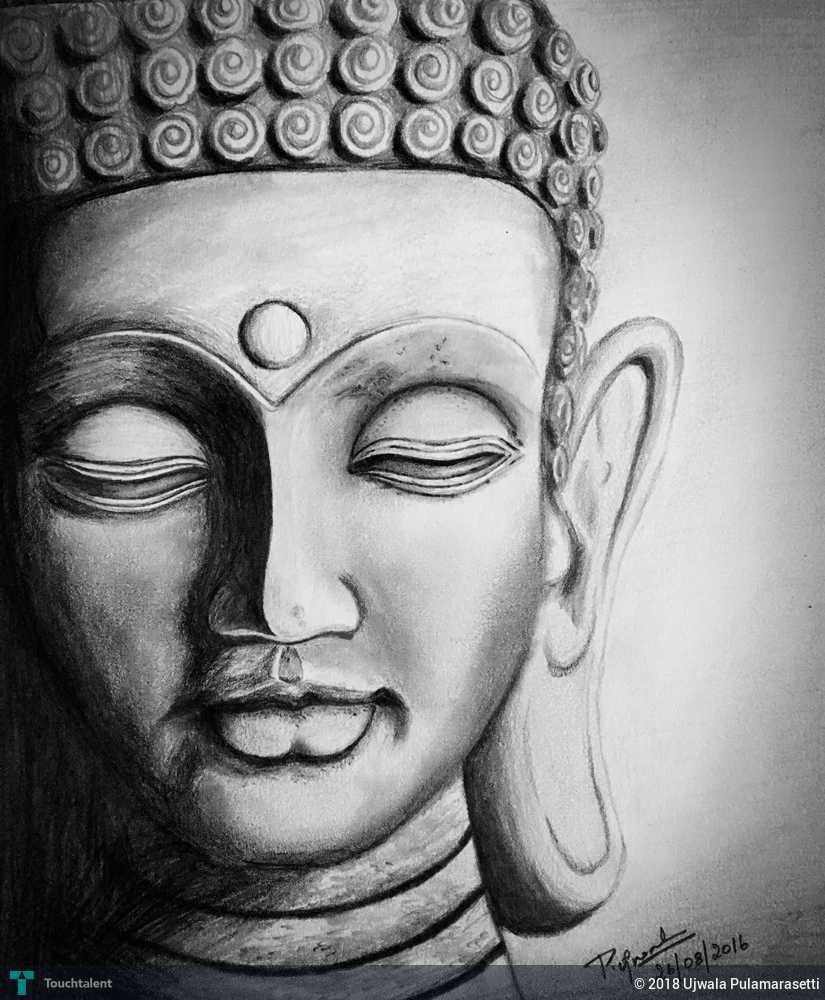 Pencil sketch of buddha ji lord buddha sketching ujwala pulamarasetti touchtalent