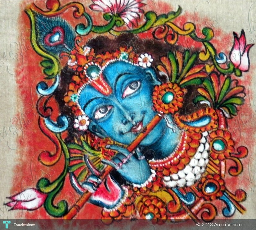 Lord krishna painting anjali vilasini touchtalent for Creative mural art