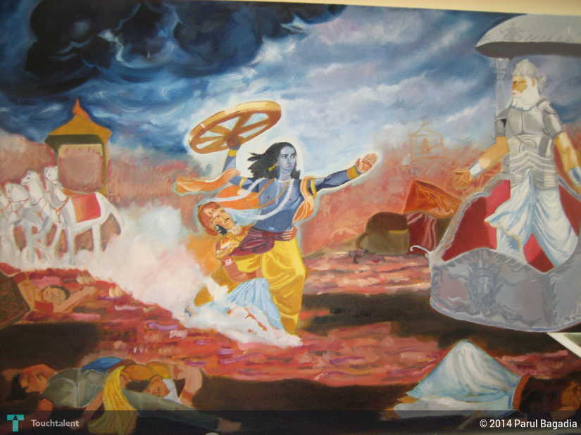 Lord Krishna Throwing Wheel On Bhishma Pitamaha Touchtalent For Everything Creative