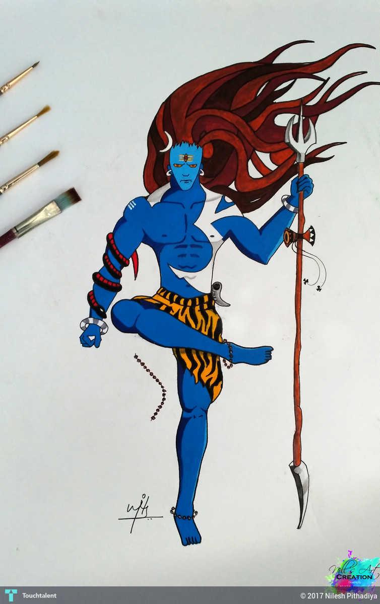 Mahakal painting in painting by nilesh pithadiya