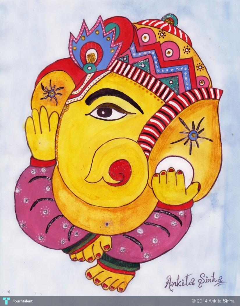 Lord ganesha multi color painting hd image - Lord Ganesha In Painting