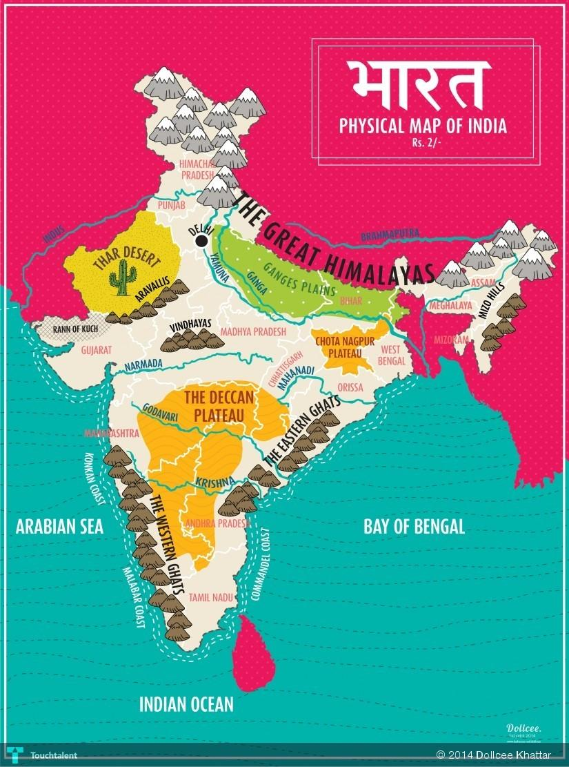 Map Of India Physical Features Touchtalent For Everything Creative