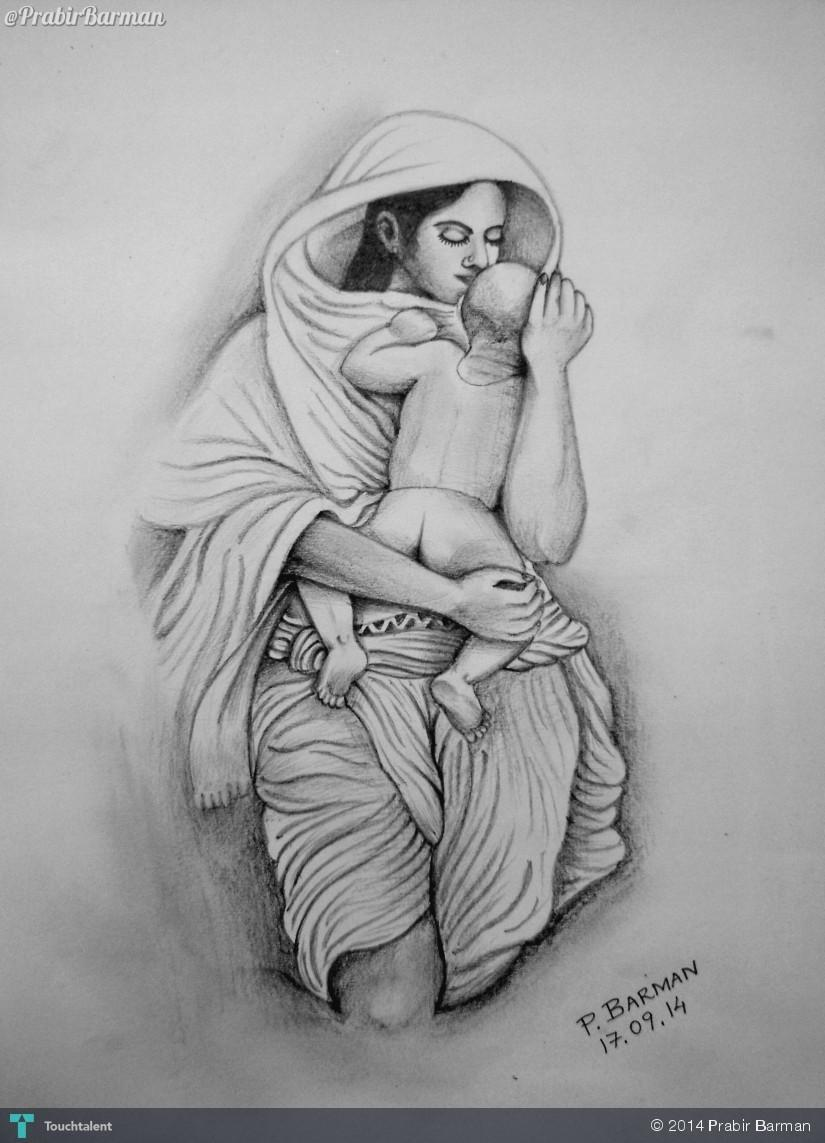 Mothers love sketching prabir barman touchtalent