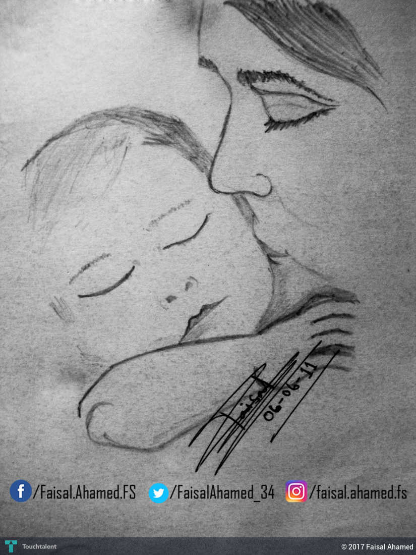 Mothers love in sketching by faisal ahamed