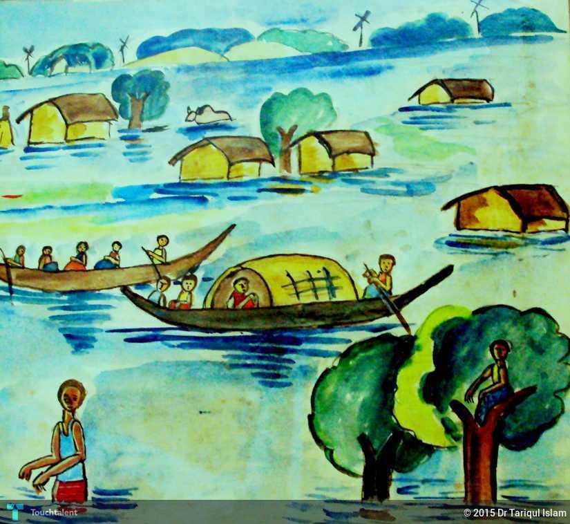 My Childhood Drawing- Flood - Painting | Dr Taariq Islam ...