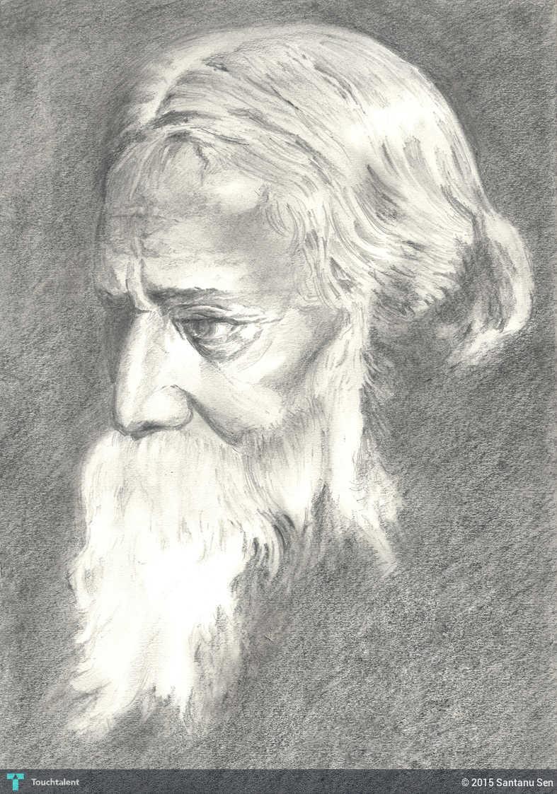Pencil sketch rabindranath tagore in sketching by santanu sen