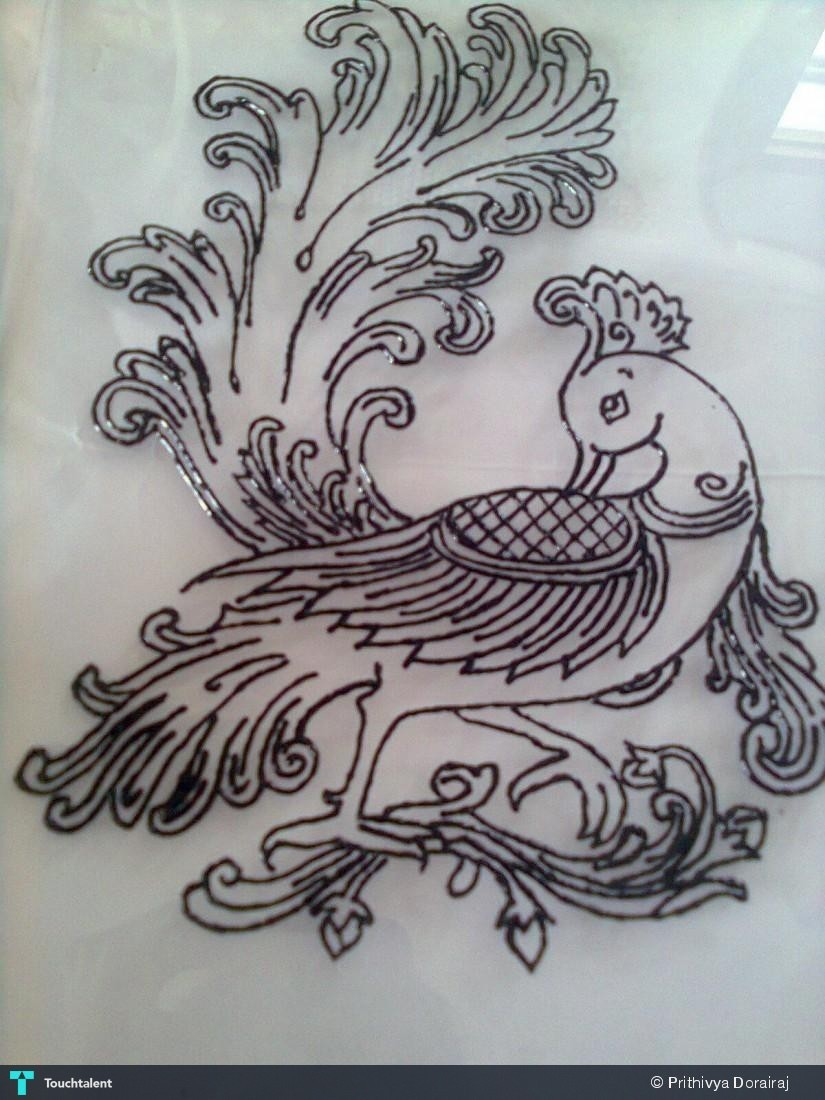 peacock drawing outline for glass painting